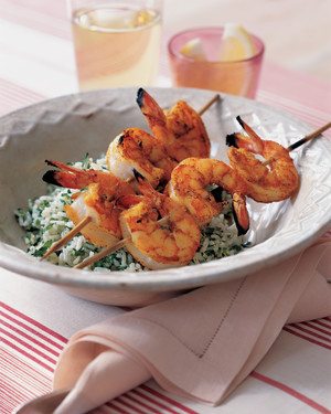Curried-Shrimp Skewers with Rice Salad
