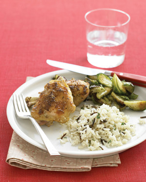 Mustard Chicken with Wild Rice and Brussels Sprouts