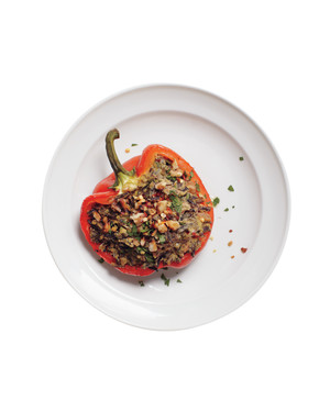 Stuffed Peppers with Wild Rice and Hummus