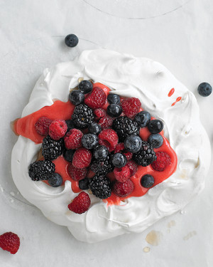Pavlova with Raspberry Curd and Berries