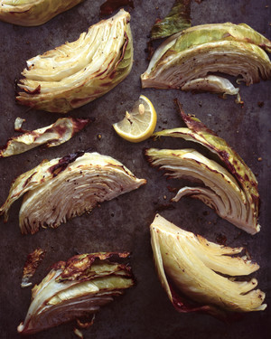Roasted Green Cabbage Wedges with Olive Oil and Lemon