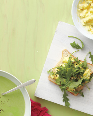 Chilled Pea Soup with Egg Salad Sandwiches