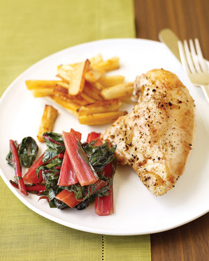 Roast Chicken with Parsnips and Swiss Chard