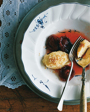 Topfenknoedel with Stewed Red Plums
