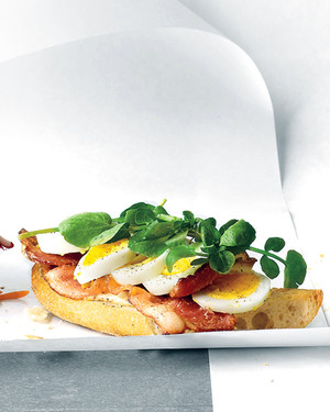 Open-Faced Egg, Bacon, and Watercress Sandwich