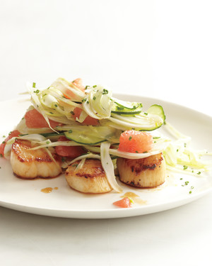 Seared Scallops with Shaved Fennel, Cucumber, and Grapefruit