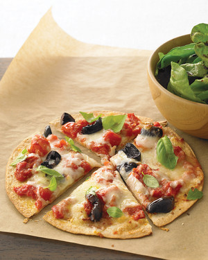 Two-Cheese Tortilla Pizza with Arugula Salad