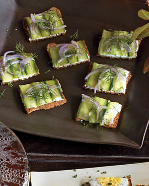 Goat Cheese, Cucumber, and Dill Tea Crackers