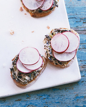 Radish Canapés with Black-Olive Butter