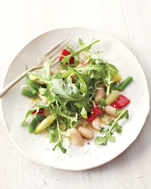 Three-Bean Salad with Arugula and Bell Pepper