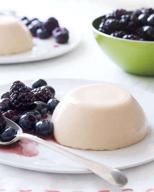Creamy Cantaloupe Custards with Mixed Berries