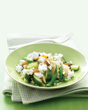 Israeli Couscous with Green Beans, Feta, and Pistachios