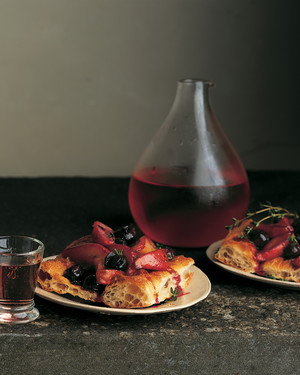 Roasted Red Pear and Grape Bread with Thyme