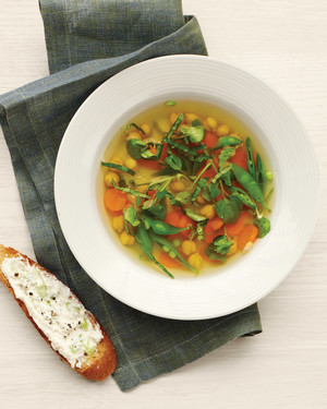 Spring Vegetable and Chickpea Soup with Cheese Toasts