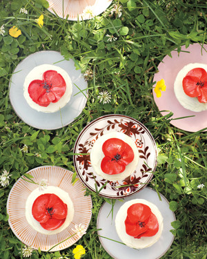 Orange-Poppy Seed Cupcakes with Buttercream Poppies