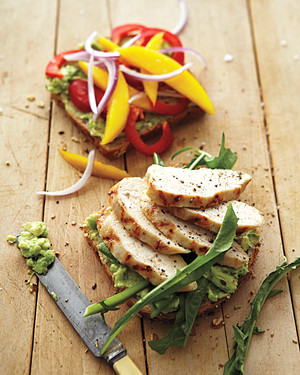 Grilled Chicken Sandwich with Mango, Bell Pepper, and Avocado