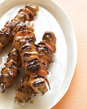 Pork, Apricot, and Red-Onion Kebabs