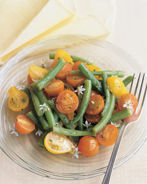 Tomato and Bean Salad with Garlic-Chive Blossoms