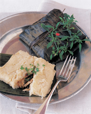 Veracruzano  Pudding  Tamales with Chicken, Chipotle, and Herbs