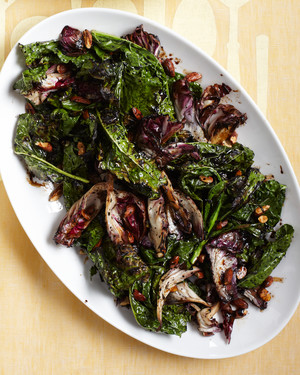 Grilled Kale and Radicchio with Almonds and Balsamic-Orange Glaze