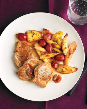 Pork Medallions with Parsnips and Grapes