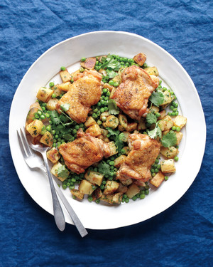 Easy Spiced Chicken with Potatoes and Peas