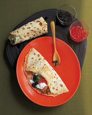 Potato and Caviar Crepes