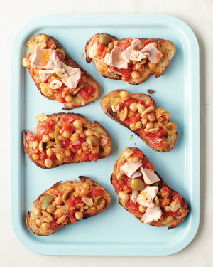Chickpeas, Olives, and Tomatoes on Toast