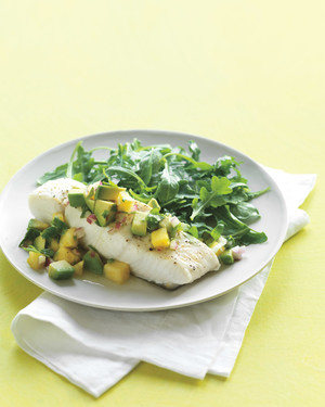 Halibut with Avocado-Pineapple Salsa