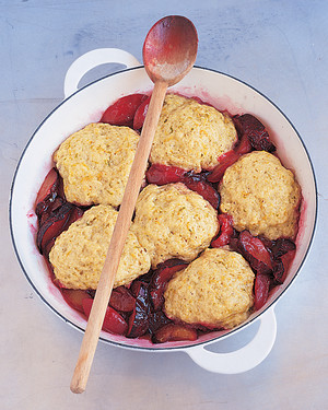 Sauteed Plums with Citrus Dumplings