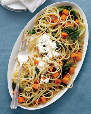 Spaghetti with Butternut Squash and Escarole