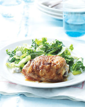 Buffalo Chicken Thighs with Celery and Blue Cheese Salad