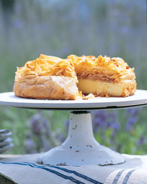 Semolina Custard Tart with Honeyed Pine Nuts