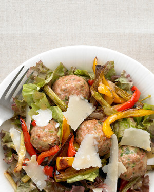 Turkey-Meatball Salad with Roasted Peppers and Parmesan