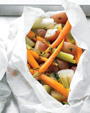 Potatoes, Leeks, and Carrots in Parchment