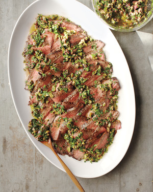 Grilled Flank Steak with Olive and Herb Sauce