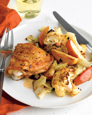 Sheet-Pan Chicken with Cauliflower and Apples