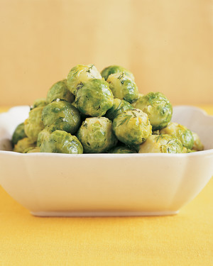 Steamed Brussels Sprouts with Lemon-Dill Butter