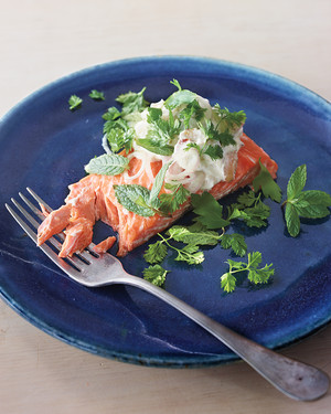 Baked Wild Salmon with Almond-Lime Sauce