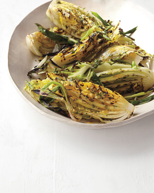 Grilled Napa Cabbage with Chinese Mustard Glaze and Scallions