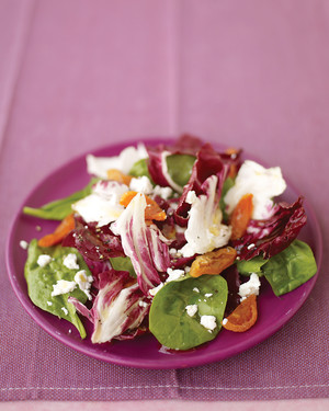 Radicchio, Spinach, and Apricot Salad with Goat Cheese