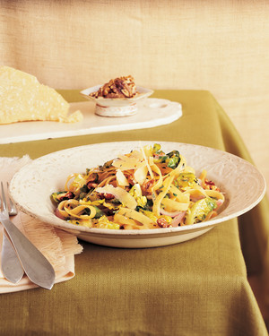 Fettuccine with Brussels Sprouts Leaves, Brown Butter, and Toasted Walnuts
