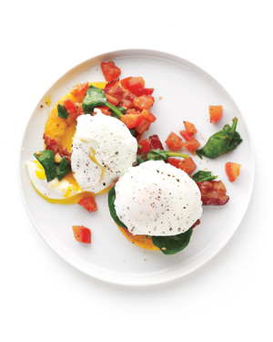 Bacon and Eggs with Polenta-Veggie Stacks