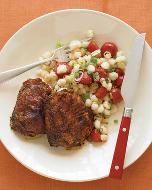 Spice-Rubbed Chicken with Hominy Saute