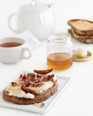 Banana-Ricotta Toasts with Pecans, Dates, and Honey