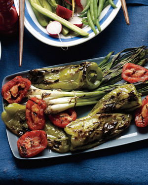Grilled Cubanelles, Tomatoes, and Scallions