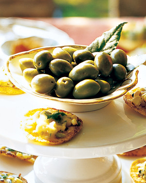 Olives with Fresh Bay Leaves