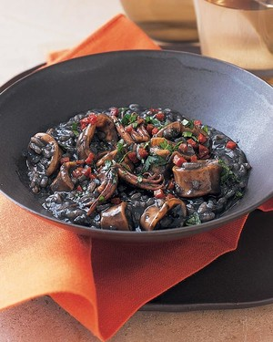 Braised Squid with Black Risotto