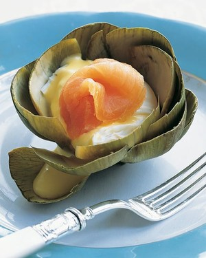 Steamed Artichokes with Poached Eggs and Smoked Salmon
