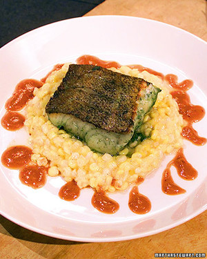 Marinated Cod Fillet and Corn Pudding